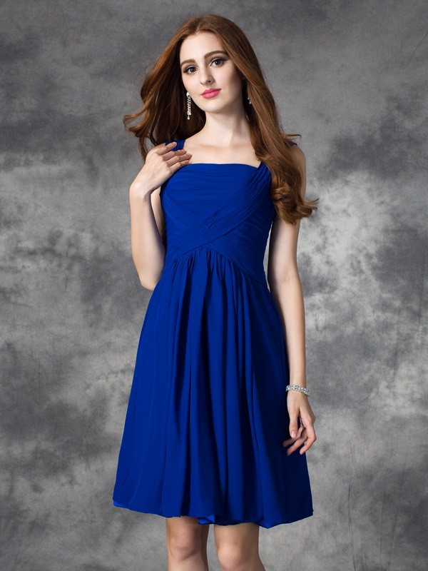 A-Line Square Short/Mini Royal Blue Homecoming Dresses