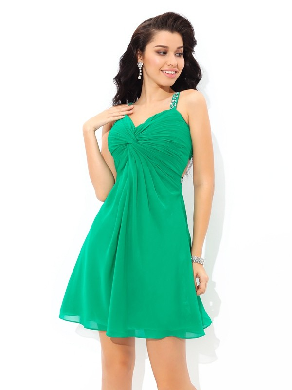 Chiffon Straps Short/Mini Green Homecoming Dresses