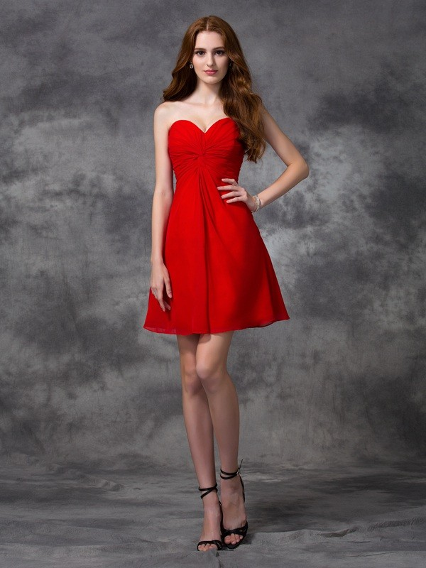 Short/Mini Red Sweetheart Homecoming Dresses with Ruched