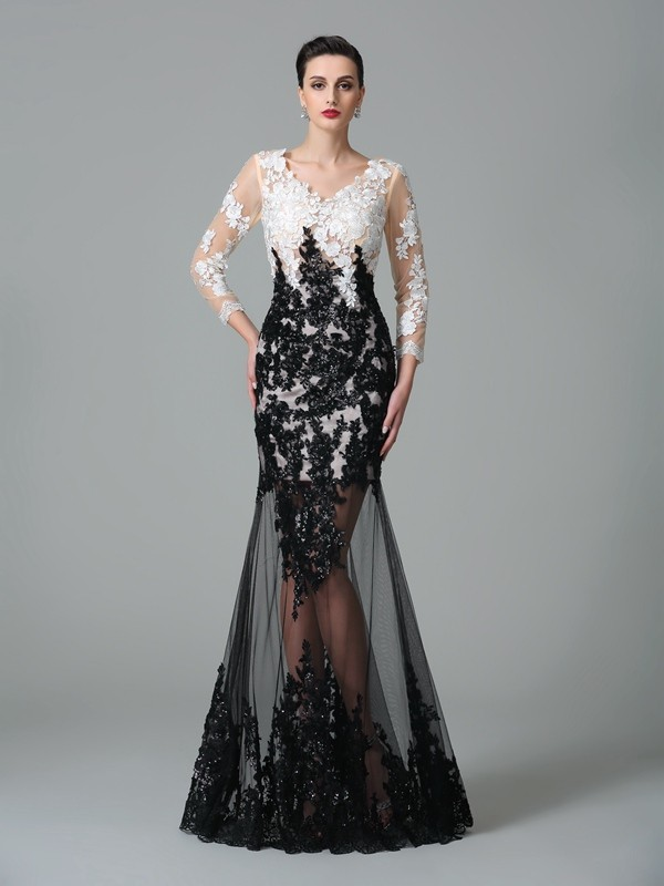 Sheath V-neck Floor-Length Black Prom Dresses with Lace