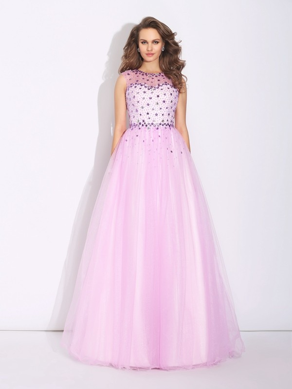Pearl Pink A-Line Jewel Floor-Length Prom Dresses with Rhinestone