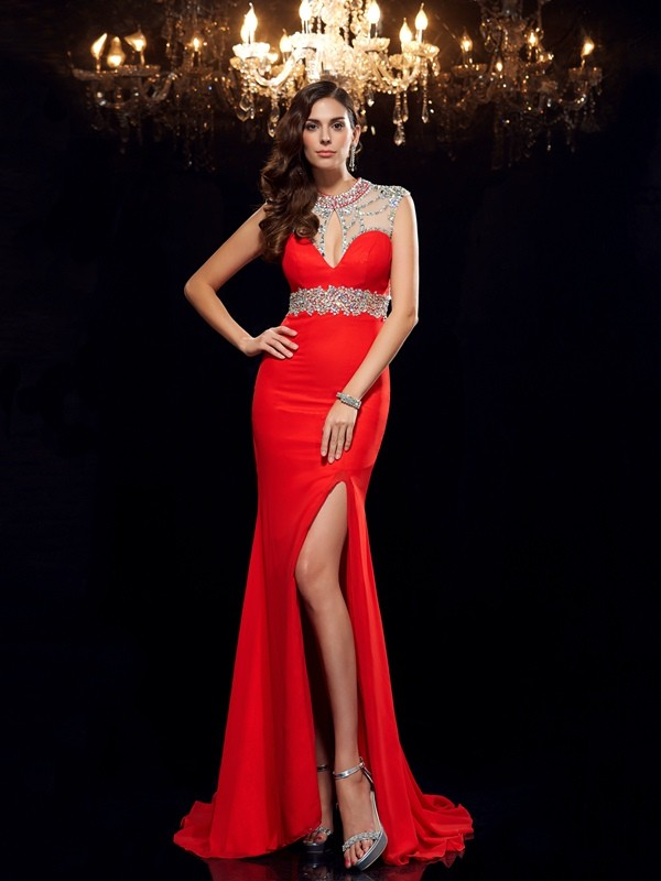 Chiffon Scoop Brush Train Red Prom Dresses