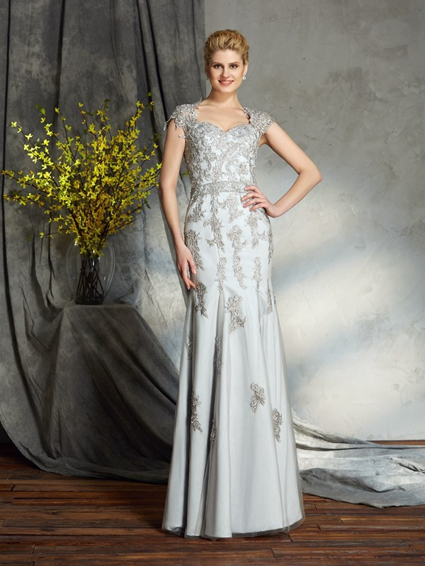 Sheath Satin Sweetheart Floor-Length Mother of the Bride Dresses with Applique