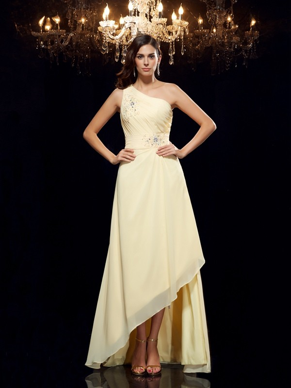 Chiffon One-Shoulder Asymmetrical Daffodil Prom Dresses