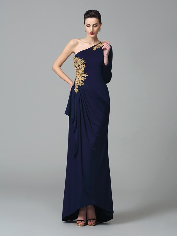Long Sleeves Sheath One-Shoulder Floor-Length Dark Navy Prom Dresses