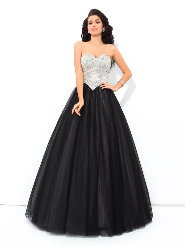 Floor-Length Black Sweetheart Prom Dresses with Paillette