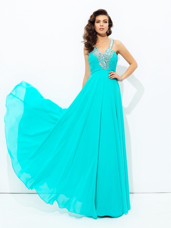 Chiffon V-neck Floor-Length Blue Prom Dresses