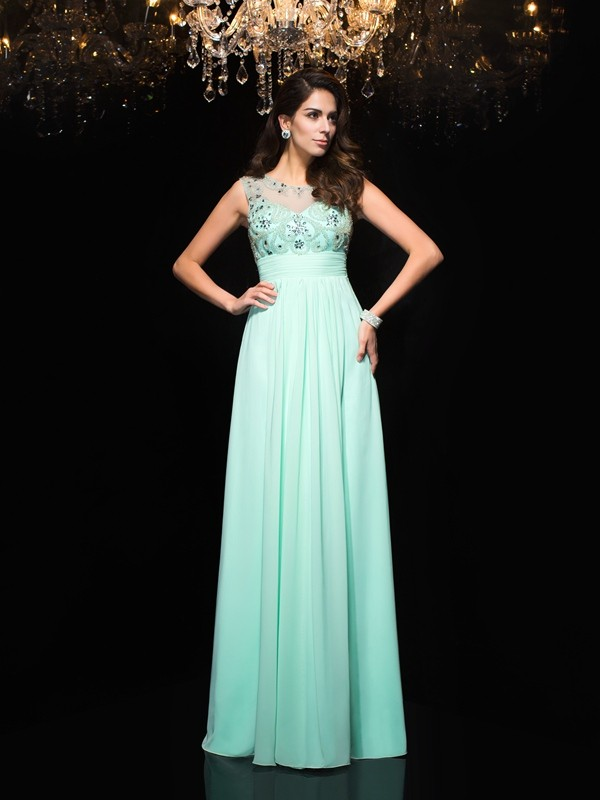 A-Line Sheer Neck Floor-Length Sage Prom Dresses