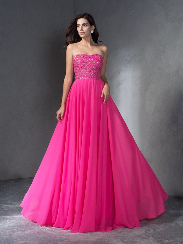 A-Line Sweetheart Brush Train Watermelon Prom Dresses with Beading
