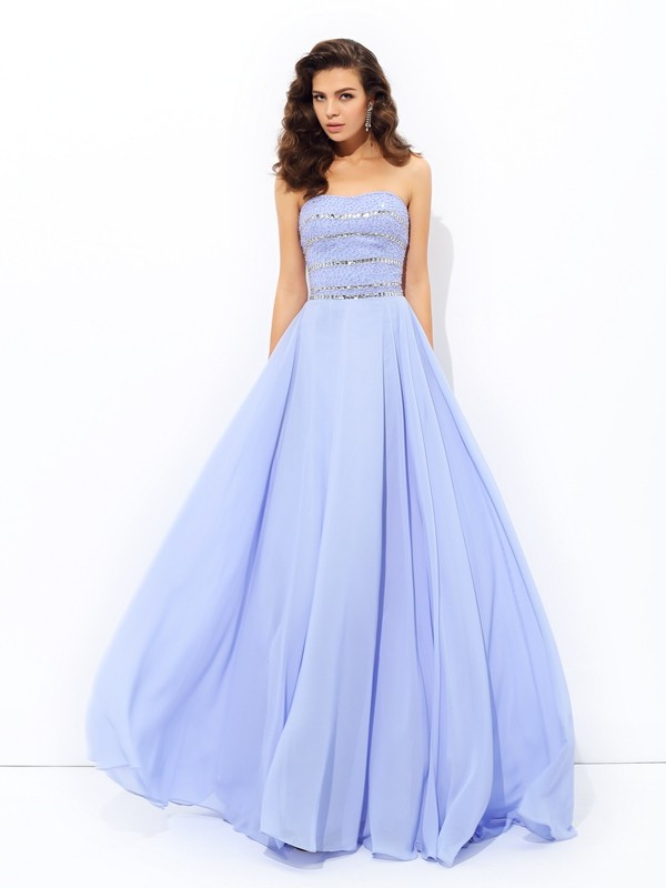 Lavender Strapless Chiffon Brush Train Prom Dresses