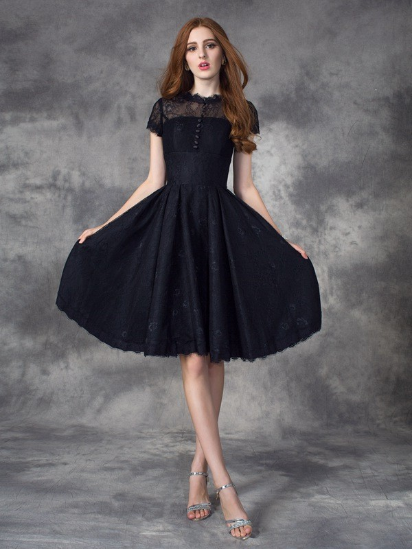 Knee-Length Black Short Sleeves Jewel Prom Dresses with Lace