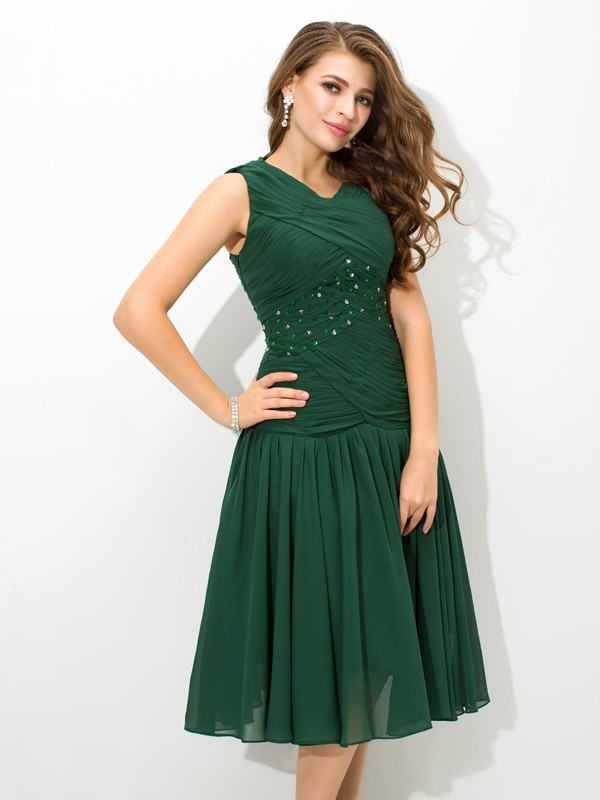 Dark Green Scoop Chiffon Knee-Length Prom Dresses