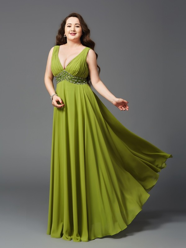 Chiffon Straps Floor-Length Green Prom Dresses