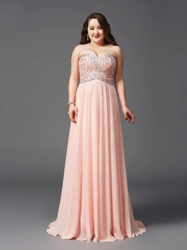 A-Line Sweetheart Brush Train Pink Prom Dresses