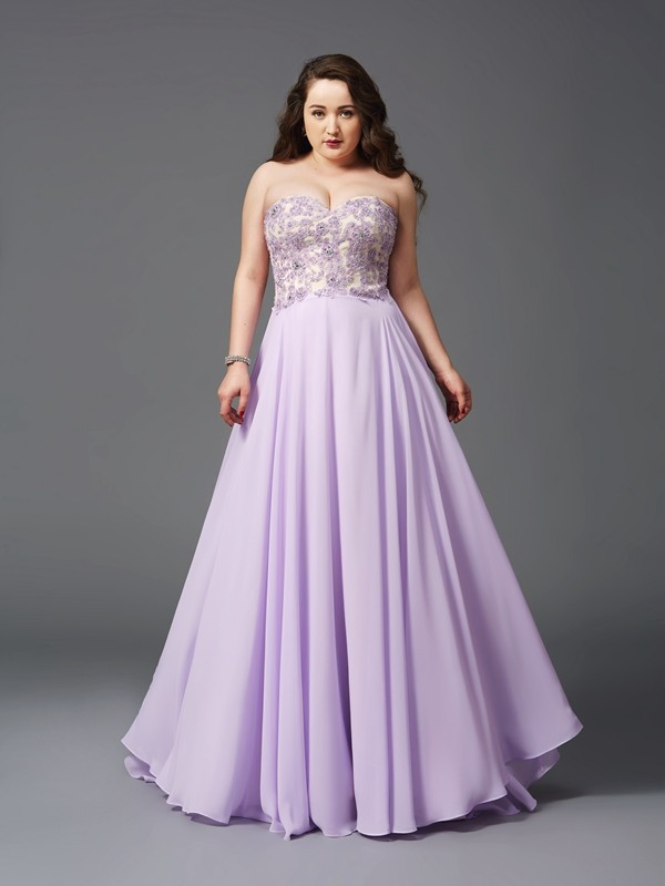 Lilac A-Line Sweetheart Brush Train Prom Dresses with Lace
