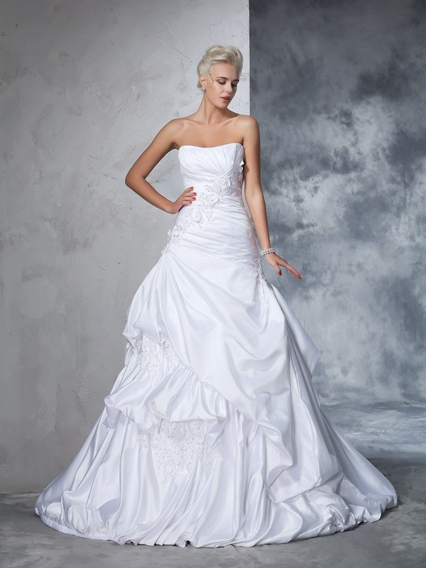 Satin Strapless Chapel Train White Wedding Dresses