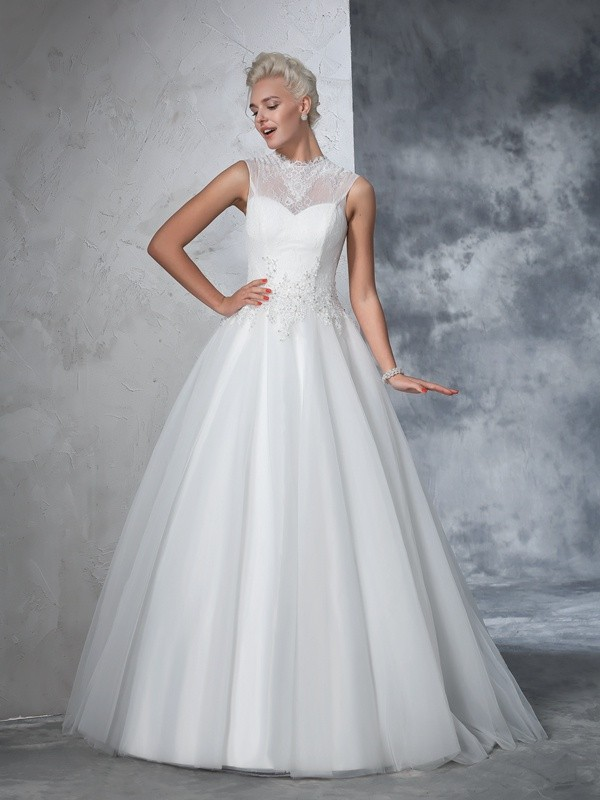 Ivory High Neck Net Floor-Length Wedding Dresses