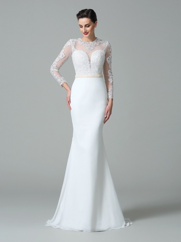 Mermaid Long Sleeves Jewel Brush Train White Wedding Dresses