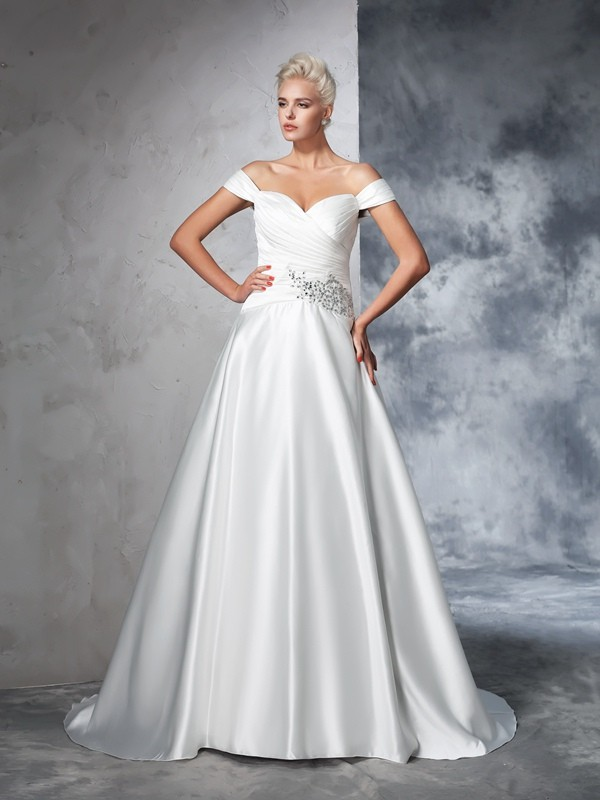 Ball Gown Taffeta Off-the-Shoulder Chapel Train Ivory Wedding Dresses