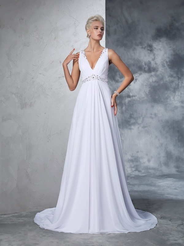 Chiffon V-neck Cathedral Train White Wedding Dresses