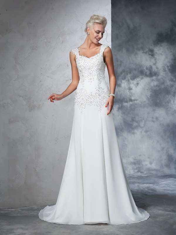 A-Line Straps Court Train Ivory Wedding Dresses