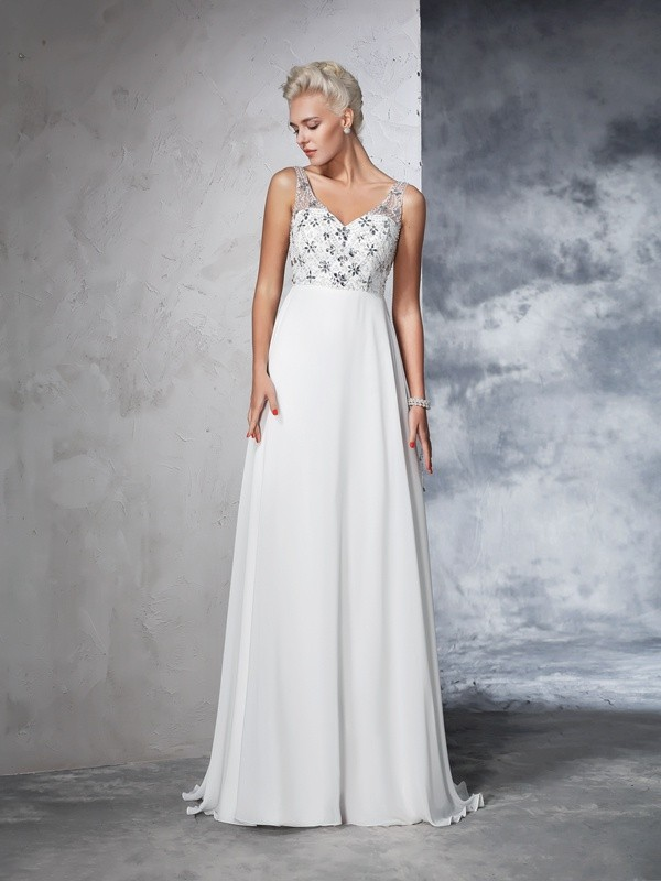 Chiffon A-Line Brush Train V-neck Ivory Wedding Dresses