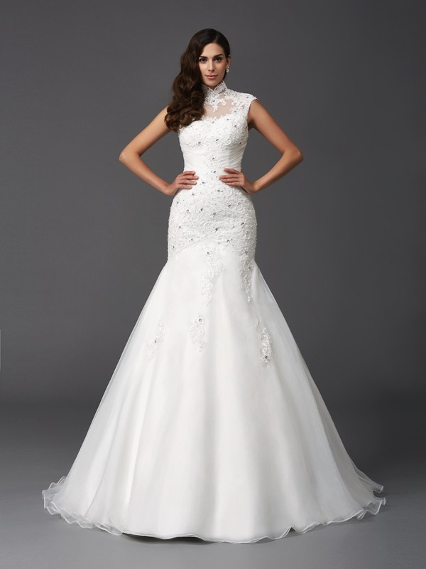High Neck Brush Train Ivory Wedding Dresses with Beading