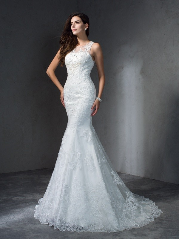 Mermaid Lace Scoop Court Train Ivory Wedding Dresses
