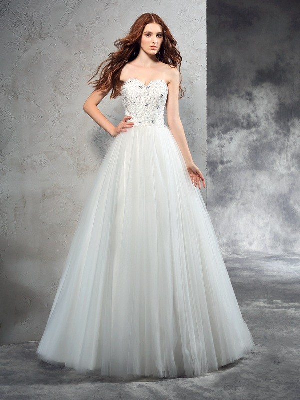 A-Line Sweetheart Floor-Length Ivory Wedding Dresses