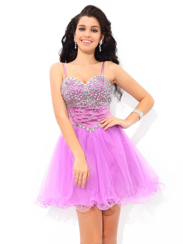 Lilac Spaghetti Straps Net Short/Mini Homecoming Dresses
