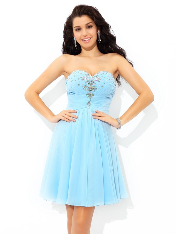 Chiffon Sweetheart Short/Mini Blue Homecoming Dresses