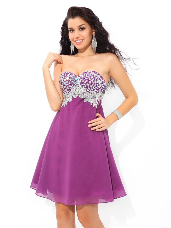 A-Line Sweetheart Short/Mini Lavender Homecoming Dresses