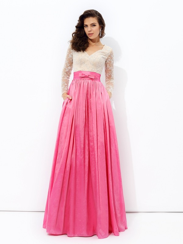 Floor-Length Fuchsia Long Sleeves V-neck Prom Dresses with Lace