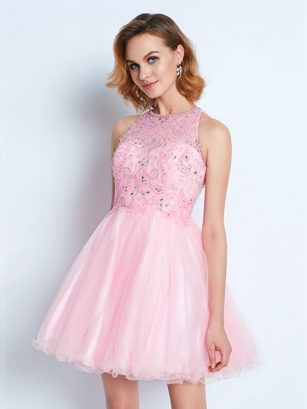 A-Line Net Jewel Short/Mini Homecoming Dresses with Ruffles