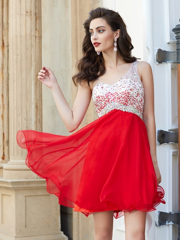 Chiffon One-Shoulder Short/Mini Red Homecoming Dresses