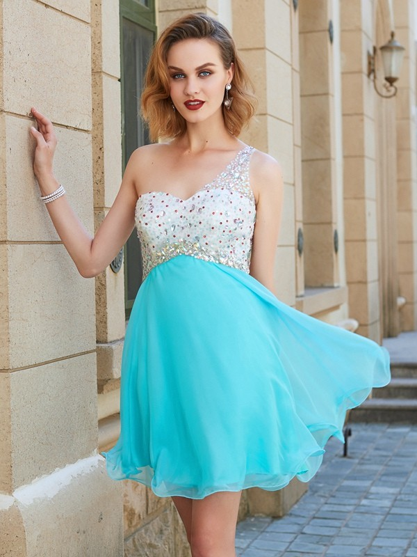 A-Line One-Shoulder Short Light Sky Blue Homecoming Dresses