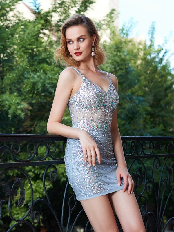 Silver Sheath Spaghetti Straps Short Homecoming Dresses with Sequin