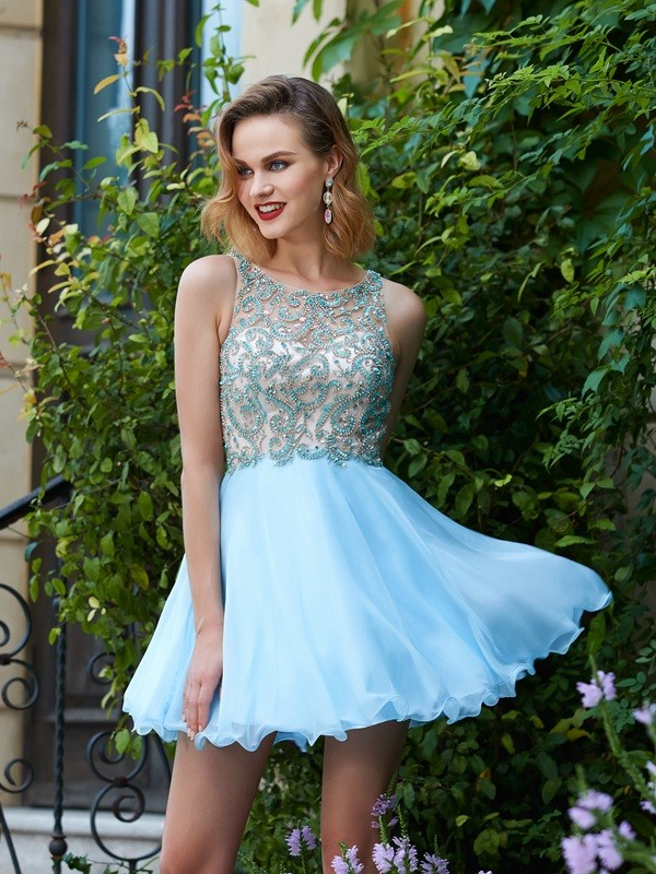 Light Sky Blue Scoop Chiffon Short/Mini Homecoming Dresses