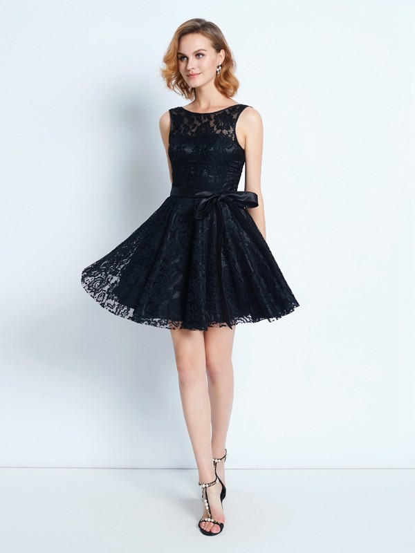 A-Line Scoop Short Black Homecoming Dresses with Sash/Ribbon/Belt