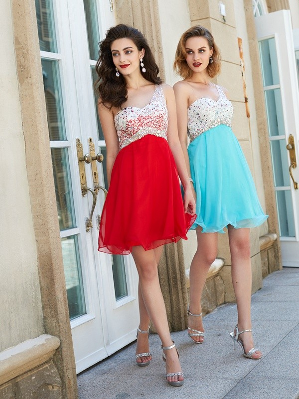 A-Line One-Shoulder Short Red Homecoming Dresses with Beading