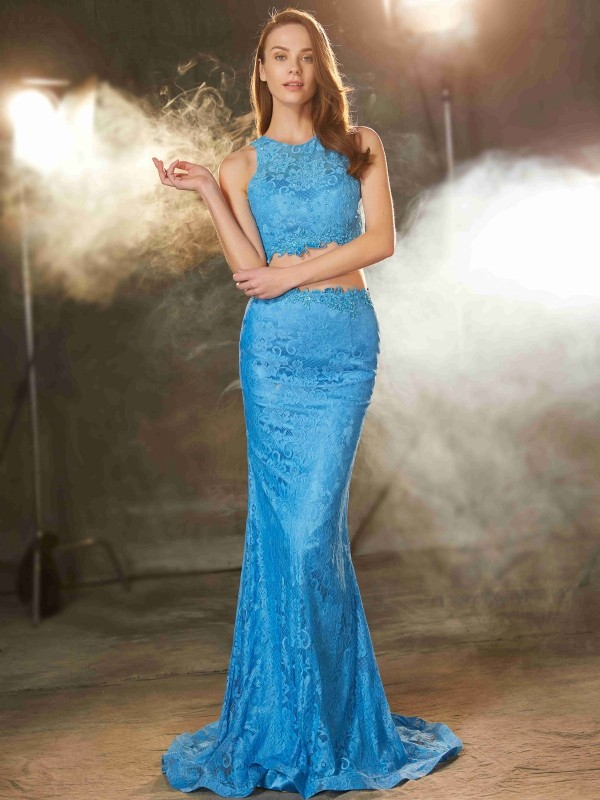 Sheath Scoop Brush Train Blue Prom Dresses