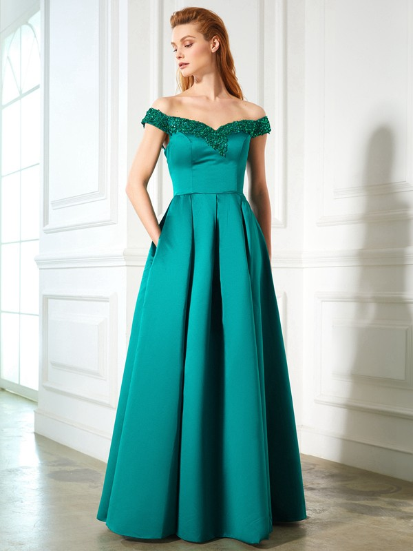 Floor-Length Green Off-the-Shoulder Prom Dresses with Sequin