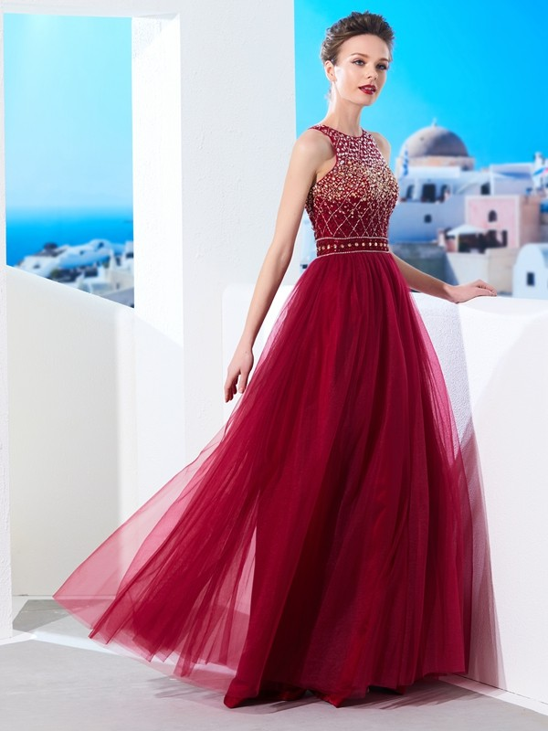 Burgundy A-Line Scoop Floor-Length Prom Dresses with Beading