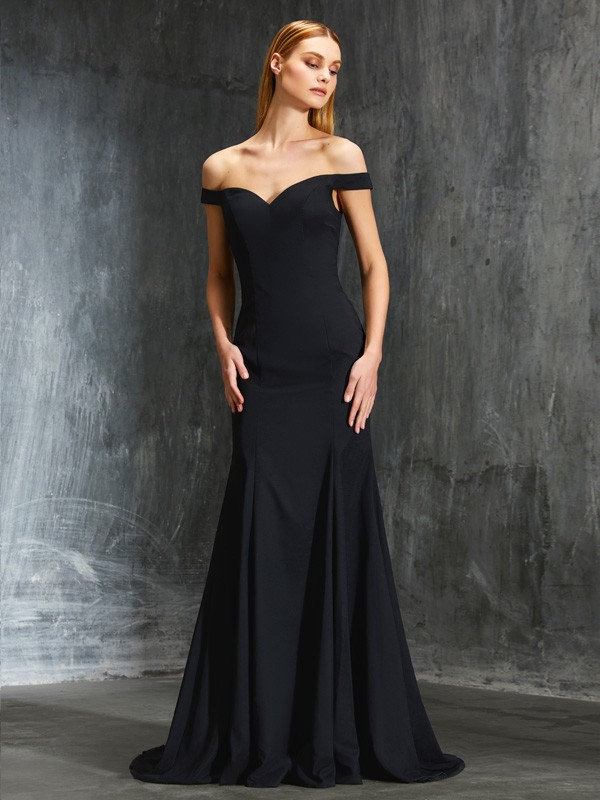 Satin Off-the-Shoulder Brush Train Black Prom Dresses
