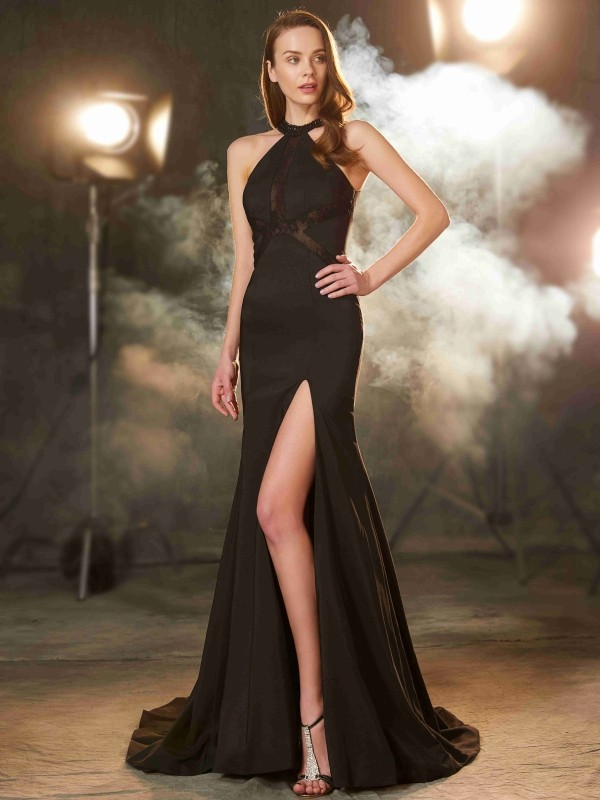 Elastic Woven Satin Jewel Brush Train Black Prom Dresses