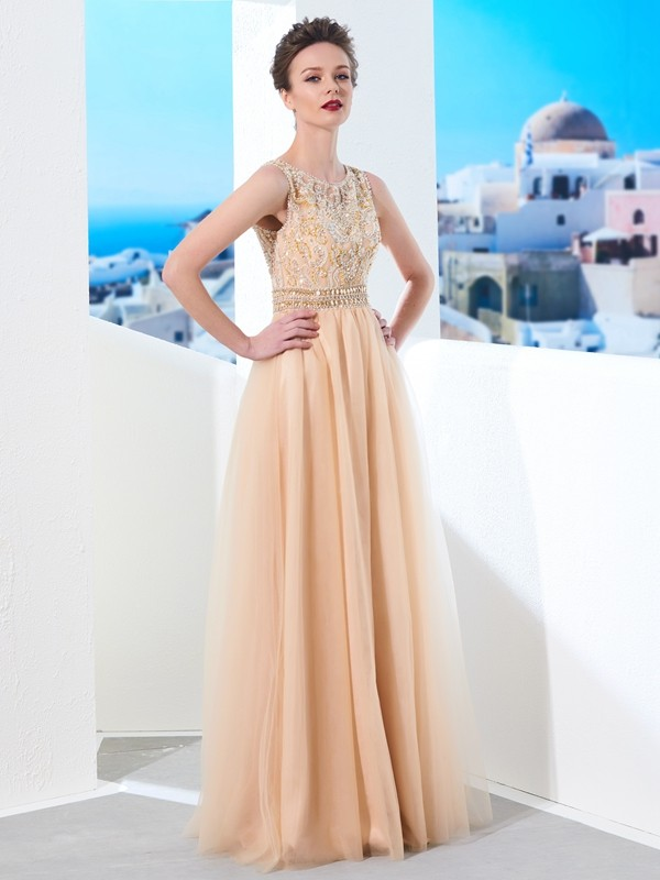 Champagne Scoop Tulle Floor-Length Prom Dresses