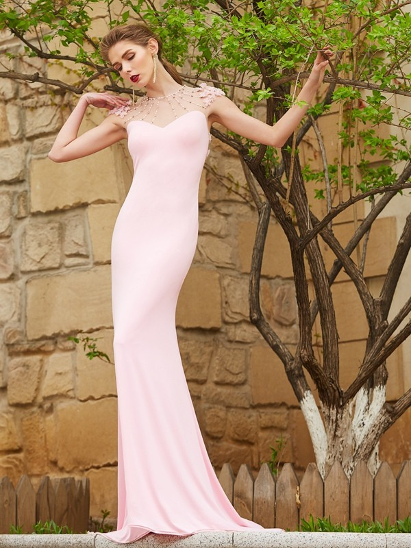 Spandex Short Sleeves Jewel Brush Train Pearl Pink Prom Dresses