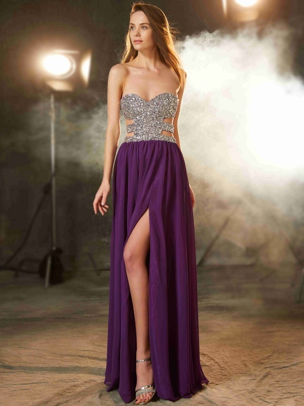A-Line Chiffon Sweetheart Floor-Length Prom Dresses with Crystal