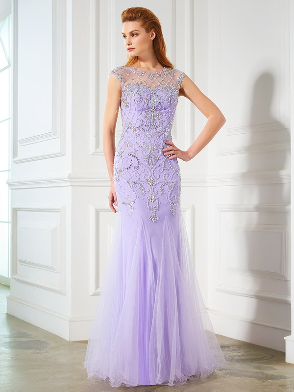 Mermaid Scoop Floor-Length Lilac Prom Dresses