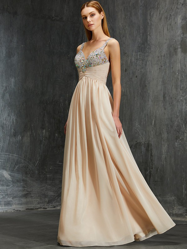 Champagne A-Line Spaghetti Straps Floor-Length Prom Dresses with Beading